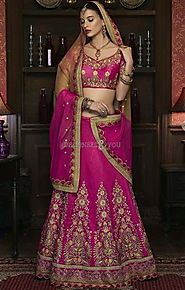 Smart Pink Silk Lehenga With Matching Choli & Dupatta