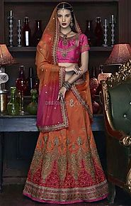 Captivating Pink Silk Choli & Orange Indian Wedding Lehenga