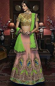 Enchanting Gold Silk Choli & Peach Ghagra For Wedding