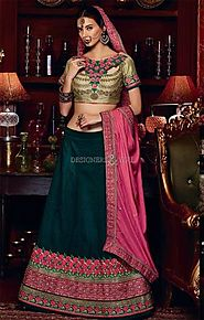 Magnetic Green Silk Wedding Chaniya Choli Pattern