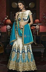Lovable White Silk Wedding Lehenga Choli Design