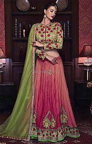 Likeable Green Silk Choli & Peach Georgette Lehenga