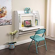 Prepac Wall Mounted Floating Desk with Storage in White