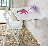 SoBuy Wall-mounted Drop-leaf Table, Double Folding Kitchen & Dining Solid Wood Table Desk, 80cm(31.5in)×60cm(23.6in),...