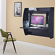 Homedex Wall Mounted Floating Desk with Storage (Black)