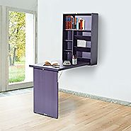 HomCom Fold Out Convertible Wall Mount Desk - Espresso Brown