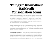 Things to Know About Bad Credit Consolidation Loans