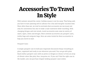 Accessories To Travel In Style