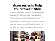 Accessories to Help You Travel in Style