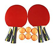 MightySpin Table Tennis Rackets & Balls Set| Complete W/ 4 Ping Pong Paddles Bundle, 6 Balls & Carrying Case Material...