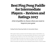 Best Ping Pong Paddle for Intermediate Players - Reviews and Ratings 2017