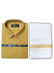 Fancy Border Matching Shirt - Mango