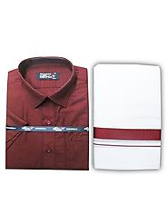 Fancy Border Matching Shirt - Maroon