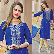 Blue Color Glazz Cotton Designer Salwar Kameez