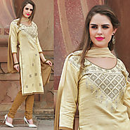 Cream Color Glazz Cotton Designer Salwar Kameez