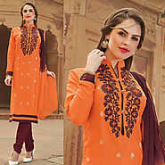 Orange Color Glazz Cotton Designer Salwar Kameez