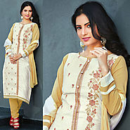 White Color Designer Cotton Salwar Kameez