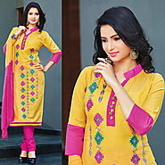 Yellow Color Designer Cotton Salwar Kameez