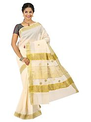 Off White Saree 66055 - 58319-009