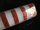 "Deco Poly Mesh Red White Stripe Metallic Stripe 21"" by 10 yards - Decorate for Christmas! Multiple rolls available."