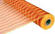 21 inch x 30 feet Deco Poly Mesh Ribbon - Gold & Red Foil Striped