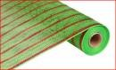 "Deco Mesh Design - Wide Lime Thin Laser Red Deluxe Stripe Deco Poly Mesh 21"" x 10 yards"