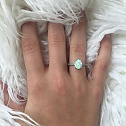 Opal Engagement Rings Sterling Silver FREE Gift Box FREE Shipping Codes Below! Promise Ring Birthstone Jewelry Prom R...