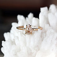 Rose Cut Pear Diamond Ring, Unique Engagement Ring, Natural Color Grey Diamond, 14k Yellow Gold Engagement Band, Ecof...