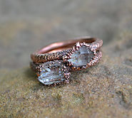 Herkimer Diamond Ring, Copper Electroformed Ring, Raw Crystal Ring, Copper Rings, Natural Stone Rings, Unique Engagem...