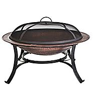 CobraCo FB6132 30 inch Round Cast Iron Copper Finish Fire Pit with Screen and Cover