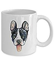 Black and White French Bulldog Mug - Style No.8 - Cute Ceramic Frenchie Coffee Cup From Vencato Designs