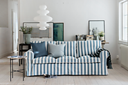 Ektorp sofa in a Mineral Blue Stripe Panama Cotton cover