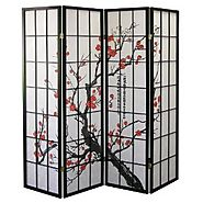 Legacy Decor 4-Panel Plum Blossom Screen Room Divider, Black