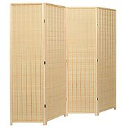 Decorative Freestanding Beige Woven Bamboo 4 Panel Hinged Privacy Screen Portable Folding Room Divider