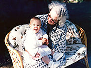 Mum as a grandmother in later years holding Clare my middle child - The Flying Bushman