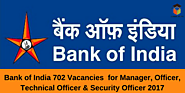 Bank of India – BOI Recruitment for Manager, Officer, Technical Officer & Security Officer 2017