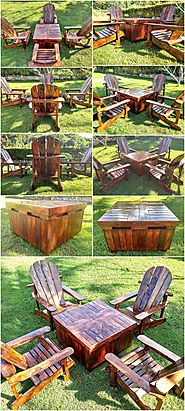 Wood Pallets Adirondack Patio Furniture Set