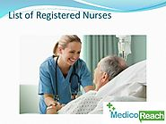 Find Nurse Database, List of Nurses - MedicoReach