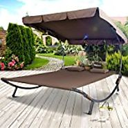 Tumbona Doble 200x200cm para 2 Personas con Techo Parasol Cama color Marron