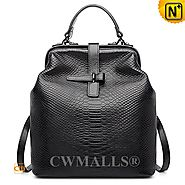 CWMALLS® Black Embossed Leather Backpack CW207008