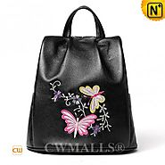 CWMALLS® Designer Embroidered Leather Backpack CW207010