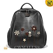 CWMALLS® Women's Embroidered Leather Backpack CW207012
