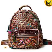 CWMALLS® Women's Woven Leather Backpack CW252081
