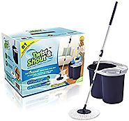 Twist and Shout Mop - Award Winning Hand Push Spin Mop from the Original Inventor - 2 Microfiber Mop Heads Included