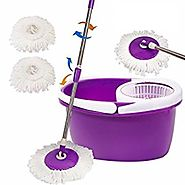 Goplus Microfiber Spining Magic Spin Mop W/bucket 2 Heads Rotating 360° Easy Floor Mop (Purple)
