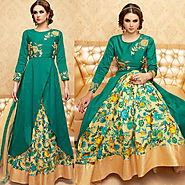 Green Color Handwork Embroidered Designer Anarkali Dress Suit