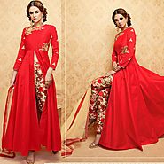 Red Color Handwork Embroidered Designer Anarkali Dress Suit