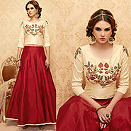 Cream Color Handwork Embroidered Designer Anarkali Dress Suit