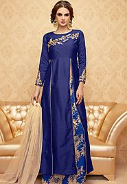 Blue Color Handwork Embroidered Designer Anarkali Dress Suit