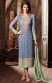 Exquisite Blue Aline Georgette Latest Pakistani Dress